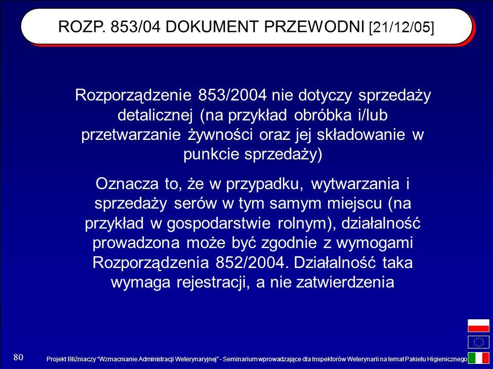 ROZP. 853/04 DOKUMENT PRZEWODNI [21/12/05]